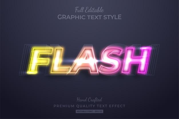 Effetto di stile di testo personalizzato modificabile con flash al neon sfumato premium