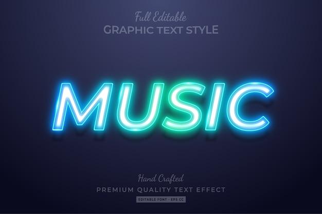 Effetto di stile di testo personalizzato modificabile con musica al neon sfumata premium