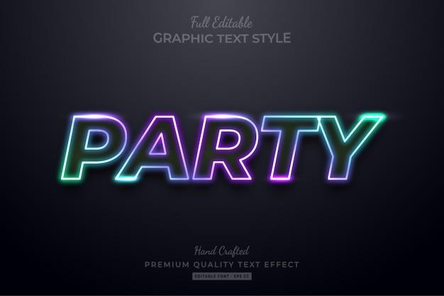 Effetto stile testo modificabile festa al neon sfumato premium