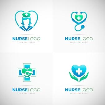 Confezione di loghi infermiera gradiente