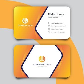 Design moderno del modello di biglietto da visita arancione sfumato