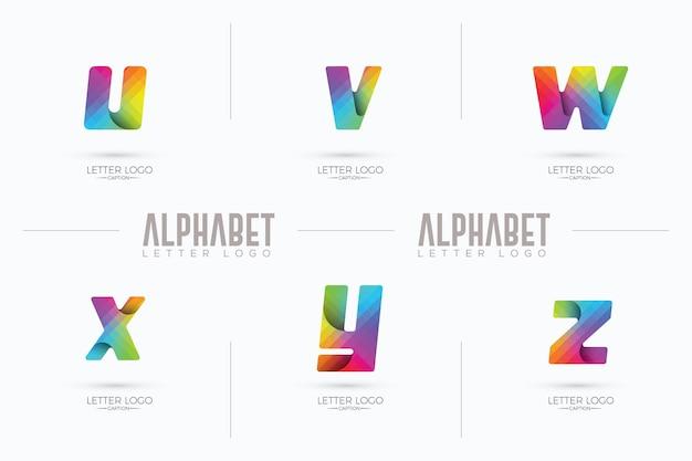 Logo di stile origami curvy business uvwxyz colorato sfumato pixel