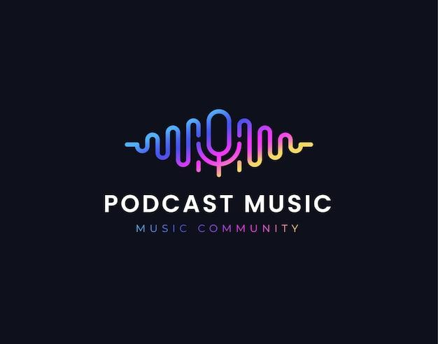 Design del logo dell'equalizzatore dell'onda musicale podcast sfumato