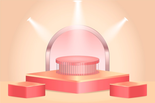 Design del podio sfumato nel rendering 3d