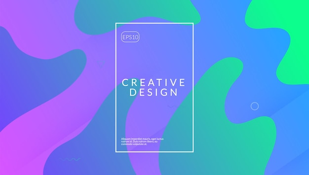 Poster gradiente. copertina digitale rosa. pagina creativa. trama di pantaloni a vita bassa. elemento fluido. composizione orizzontale 3d. forma astratta dell'onda. pagina di destinazione fantastica. poster sfumato lilla