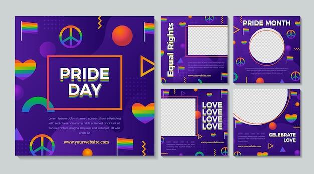 Raccolta di post di instagram del giorno dell'orgoglio gradiente