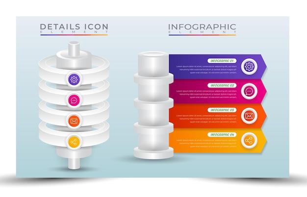 Stile modello infografica processo gradiente