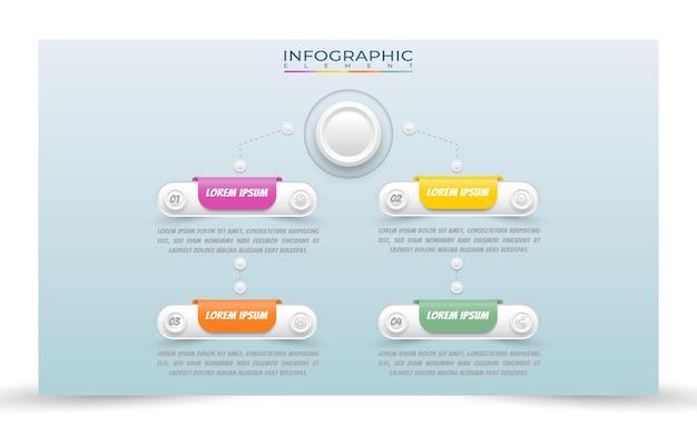 Modello di infografica processo gradiente