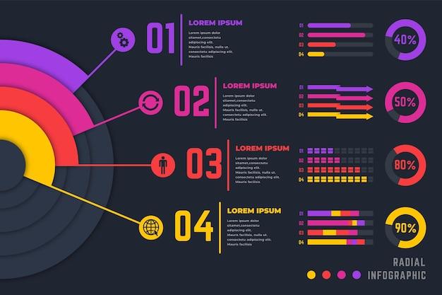Collezione di infografica radiale gradiente