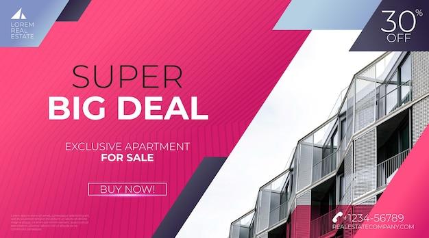 Banner di vendita immobiliare sfumato