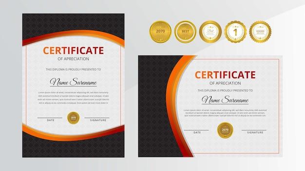 Certificato di lusso sfumato rosso e nero con set di badge d'oro per affari e istruzione a premi