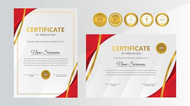 Certificato di lusso rosso sfumato con set di badge d'oro per esigenze di business e istruzione premiate
