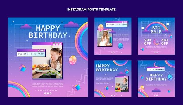 Post di instagram di compleanno sfumato retrò vaporwave