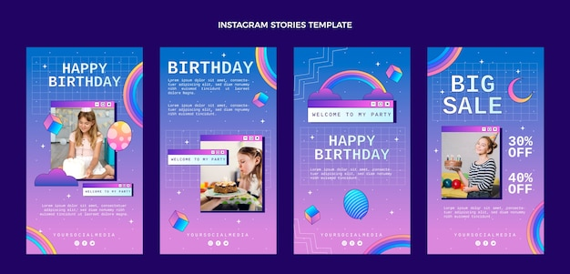 Storie di instagram di compleanno sfumate retrò vaporwave