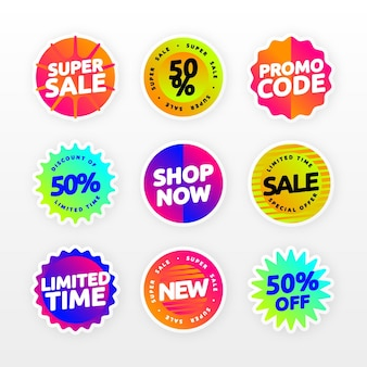 Collezione di badge di vendita sfumata