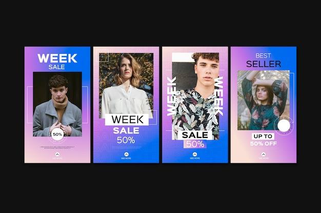 Storie di instagram di vendita gradiente impostate