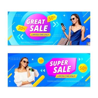 Banner di vendita sfumati con foto