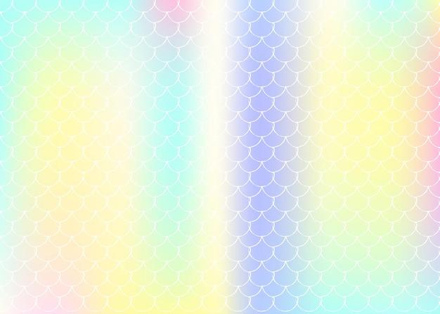 Sfondo in scala sfumata con sirena olografica. transizioni di colore brillante. banner e invito a coda di pesce. motivo subacqueo e marino per feste femminili. sfondo colorato con scala sfumata.