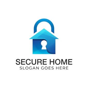 Logo della casa sicura sfumato, serratura domestica, design del logo immobiliare