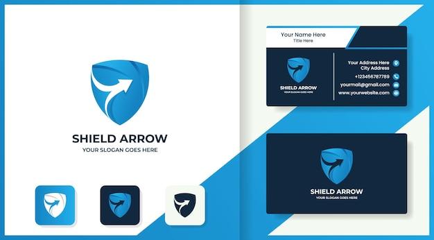 Design del logo e biglietto da visita con freccia a scudo sfumato