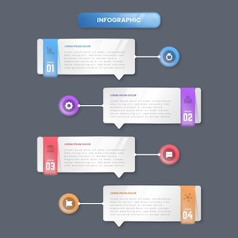 Infographics di bolle di discorso gradiente
