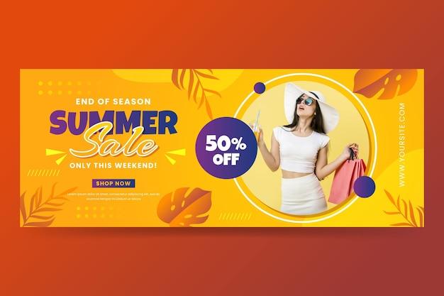 Modello di banner di vendita estiva gradiente con foto