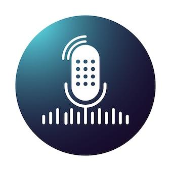 Microfono da studio da tavolo sfumato con onde sonore di trasmissione