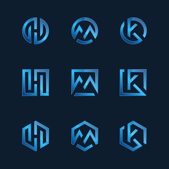 Collezione di modelli logo tecnologia gradiente