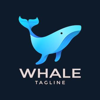 Modello di logo di balena gradiente Vettore Premium