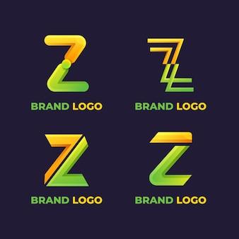 Pacchetto modello logo lettera z gradiente