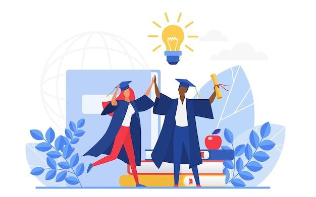 Persone laureate che celebrano la laurea, tenendo il diploma di scuola