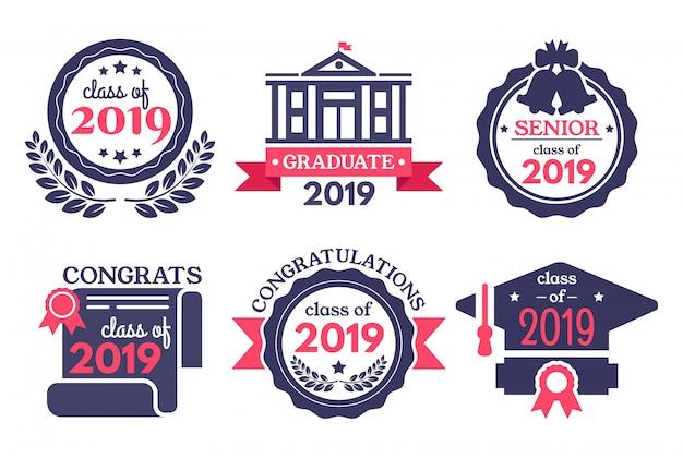 Distintivo per studenti laureati. laureati di congratulazioni, distintivi di giorno di laurea e set di illustrazione vettoriale laurea scuola