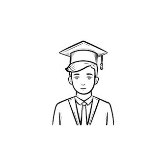 Icona di doodle di contorni disegnati a mano di studente laureato. studente che indossa il mantello di laurea e il berretto vettoriale illustrazione di schizzo per stampa, web, mobile e infografica isolato su priorità bassa bianca.