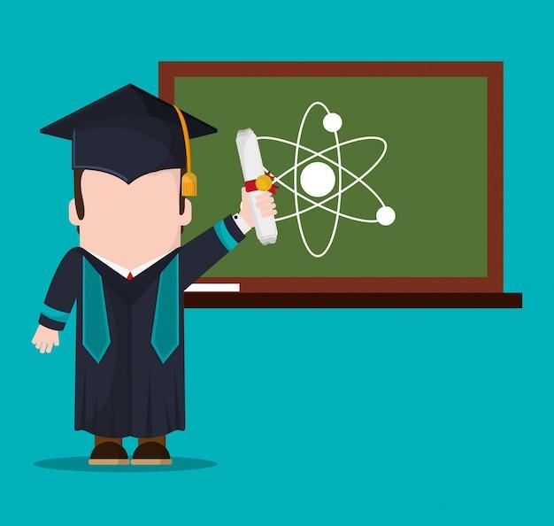 Dottorando con diploma e lavagna scientifica