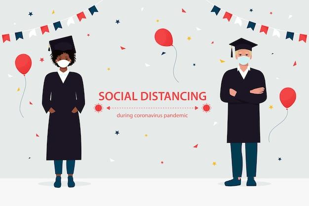 Gli studenti laureati con maschere protettive mantengono le distanze