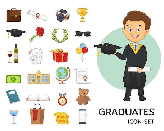 Icone piane di concetto di laureati
