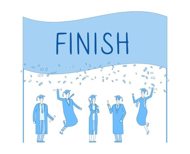 Laureati. festa di laurea, diploma di scuola superiore o università.