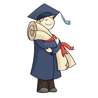 Uomo di laurea con diploma