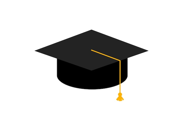 Tappo di laurea. cappello dell'accademia. illustrazione di vettore dell'icona di concetto di istruzione