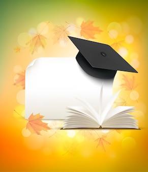 Tappo di laurea su sfondo autunnale con un libro. torna al concetto di scuola. vettore.