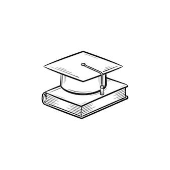 Tappo di laurea sull'icona di doodle di contorni disegnati a mano del libro. illustrazione di schizzo di vettore di laurea universitaria per stampa, web, mobile e infografica isolato su priorità bassa bianca.