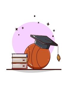 Cappello di laurea, libri e illustrazione di cartoni animati da basket basketball