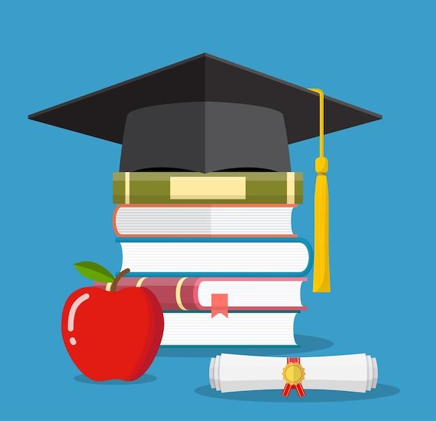 Tappo di laurea su libri impilati, tavola di mortaio con pila di libri e diploma, mela, simbolo di educazione, apprendimento, conoscenza, intelligenza, illustrazione vettoriale in stile piano