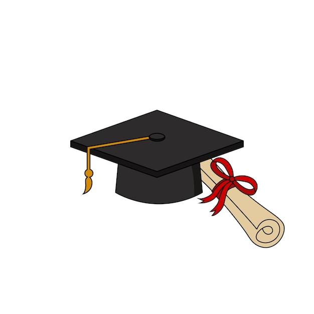 Modello di progettazione dell'illustrazione dell'icona del certificato del cappuccio di laurea