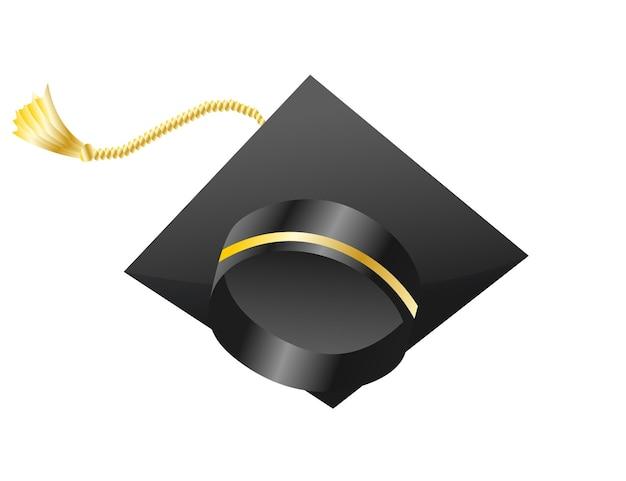 Tappo di laurea. elemento per la cerimonia di laurea e la progettazione di programmi educativi. copertura del cappello nero dell'università o dell'università di laurea. cappello accademico. berretto da studente di scuola superiore isolato su sfondo bianco