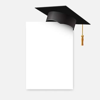 Tappo di laurea o bordo di mortaio sull'angolo di carta. elemento di design educazione isolato su sfondo bianco.