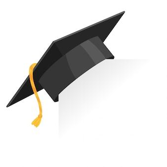 Tappo di laurea o bordo di mortaio sull'angolo di carta. elemento di disegno vettoriale educazione isolato