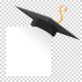 Tappo di laurea o bordo di mortaio sull'angolo di carta. elemento di disegno vettoriale educazione isolato.
