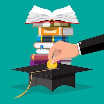 Tappo di laurea, libro aperto e moneta d'oro. risparmio di istruzione e concetto di investimento. conoscenza accademica e scolastica.