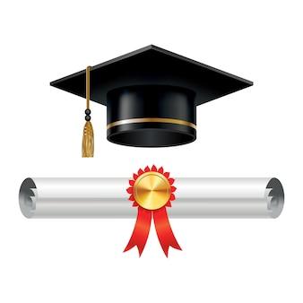 Tappo di laurea e rotolo di diploma arrotolato con timbro
